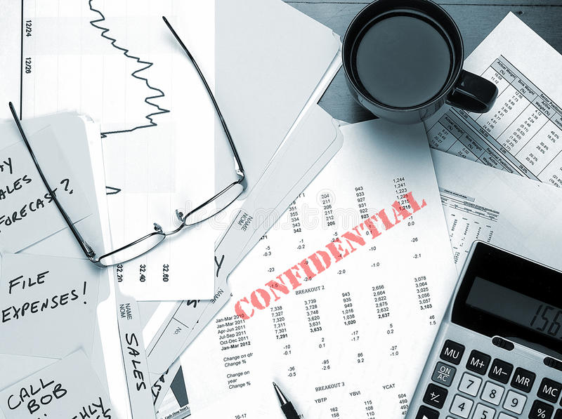 Download Confidential Business Papers On Desk Stock Photo - Image of executive, numbers: 35908036
