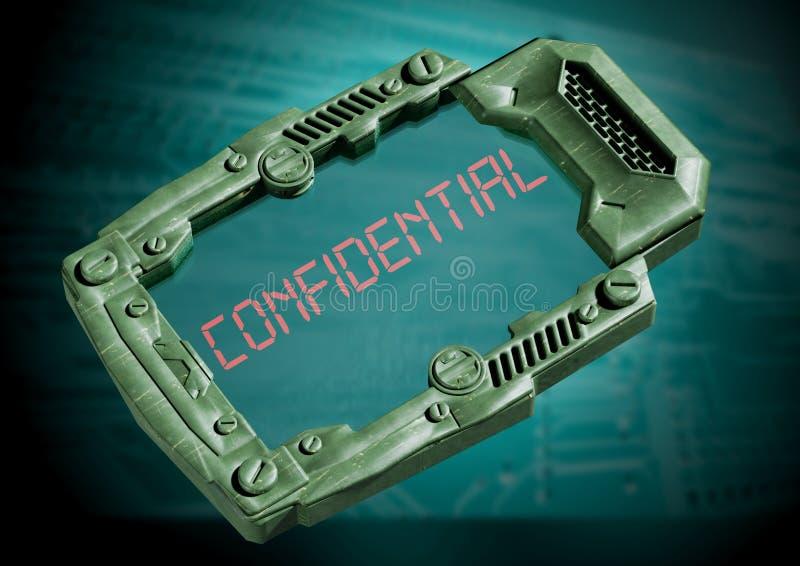Confidential Concept. Futuristic sci-fi communicator with transparent screen. 3D rendering stock illustration