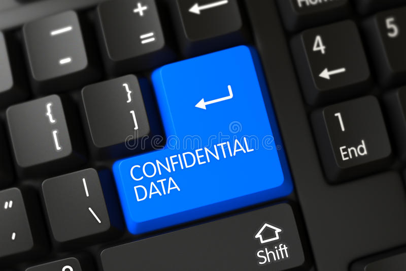 Confidential Data - Modern Key. 3D. Confidential Data on Modern Laptop Keyboard Background. 3D stock photos