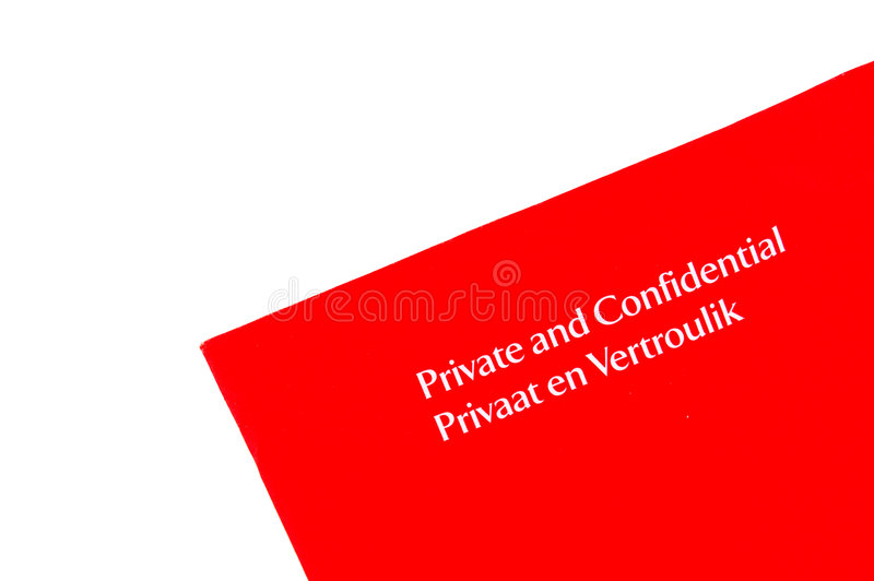 Confidential envelop. A letter in a red envelop from South Africa with the written words in white letters PRIVATE AND CONFIDENTIAL (English language) and also stock images