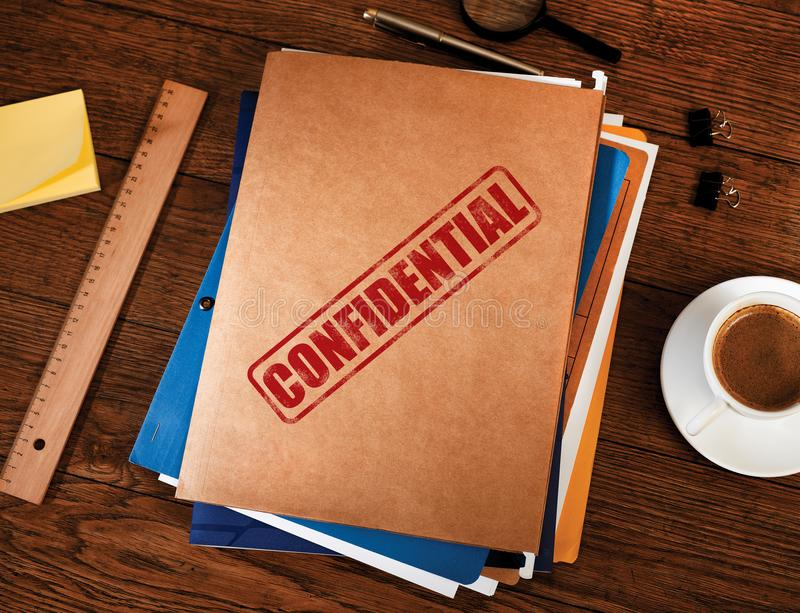 Confidential folders from above royalty free stock photos