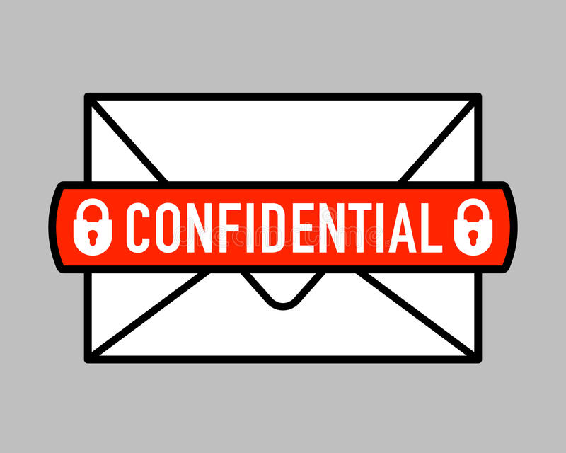 Confidential Mail Icon With Padlock Icon On Letter Stock Vector
