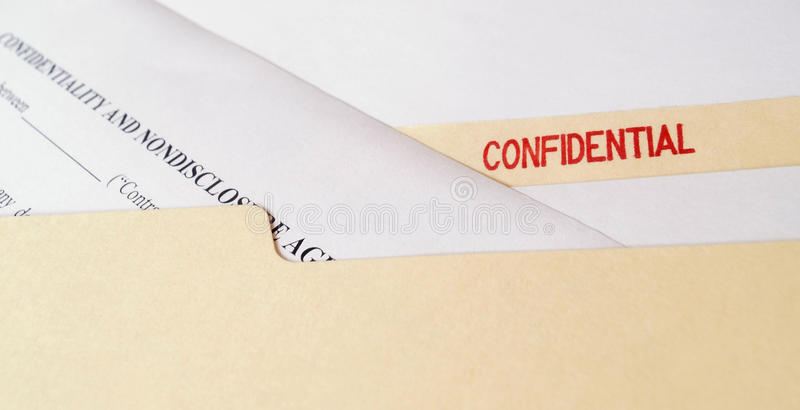 Confidential Non-Disclosure Agreement stock photos