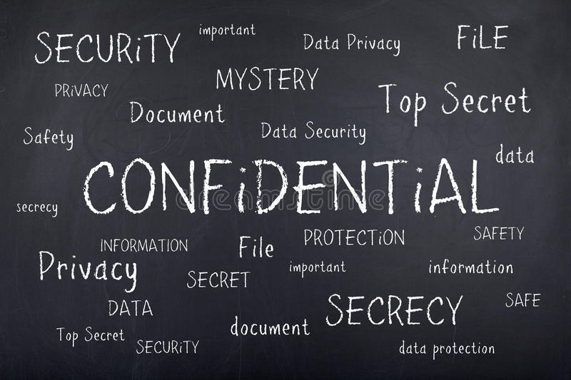 Confidential Secret Security Word Cloud Concept stock photography