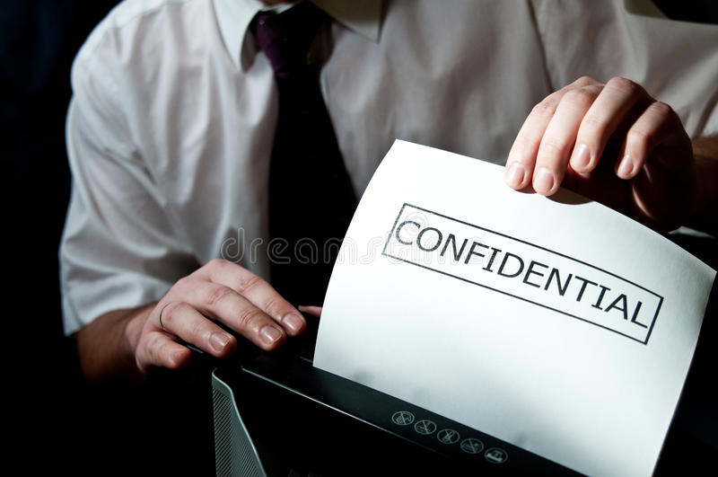 Confidential shredder stock image