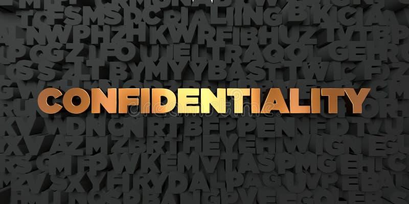 Confidentialité - texte d'or sur le fond noir - photo courante gratuite de redevance rendue par 3D illustration stock
