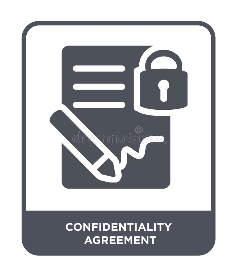 confidentiality agreement icon in trendy design style. confidentiality agreement icon isolated on white background. royalty free illustration