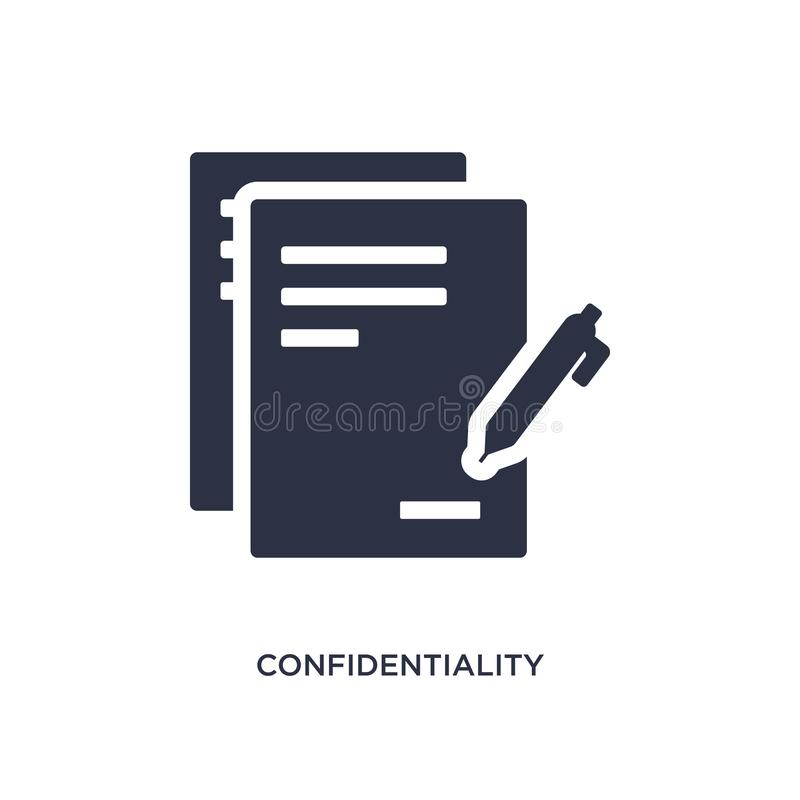confidentiality agreement icon on white background. Simple element illustration from human resources concept royalty free illustration