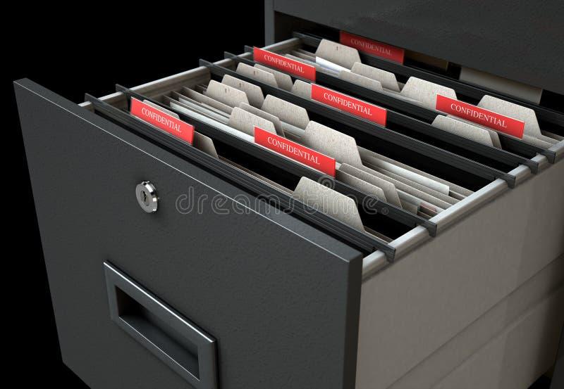 Confidenziale aperto del cassetto del casellario illustrazione vettoriale