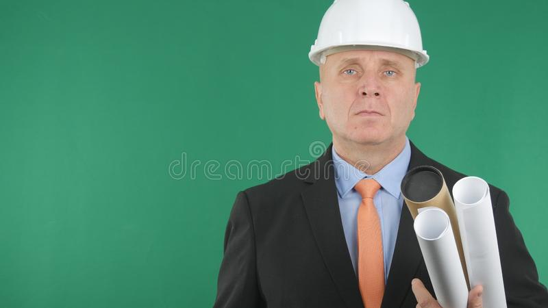 Confiding Businessman Image Building Company presentation royalty free stock image