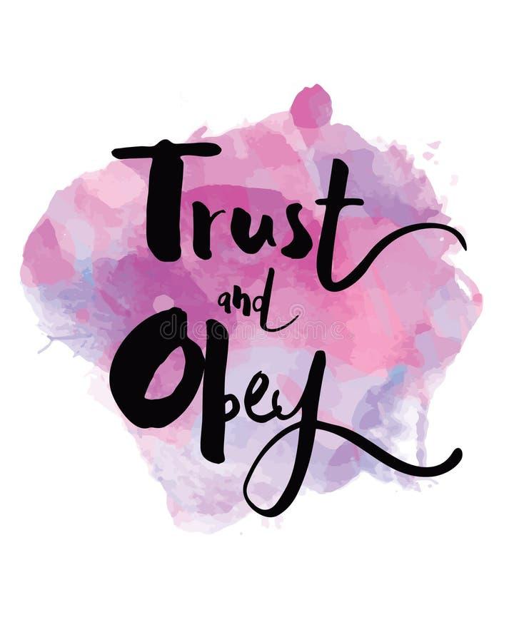 Confie e obedeça Art Print tipográfico ilustração royalty free