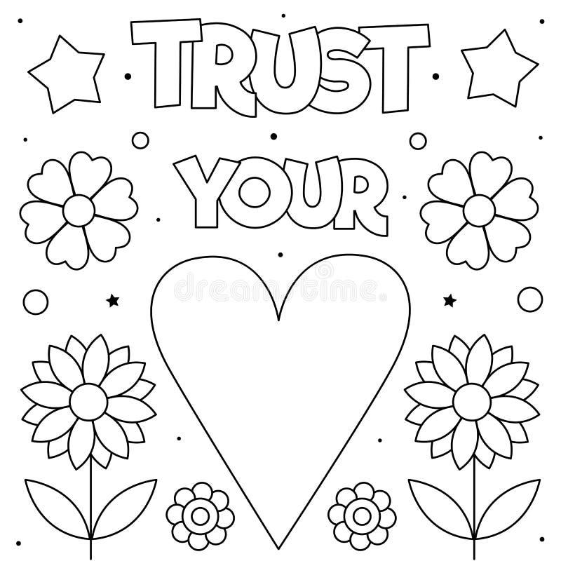 Confie seu cora??o P?gina da colora??o Ilustra??o do vetor Coração, flores ilustração do vetor