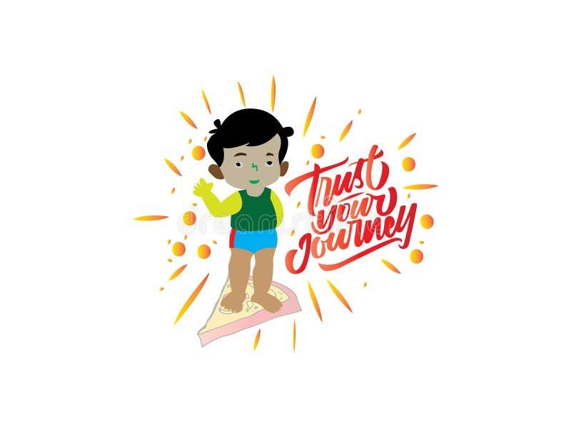 Confie sua mão do vintage do jurney que rotula o cartaz das citações da tipografia ilustração stock