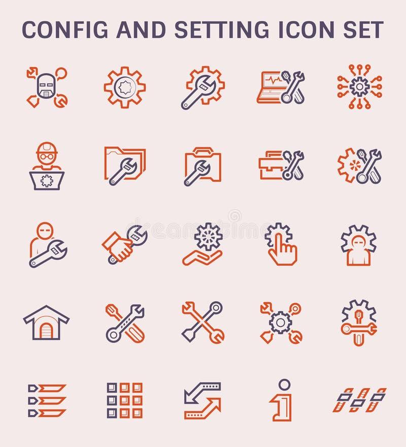 Config setting icon. Config and setting icon set stock illustration