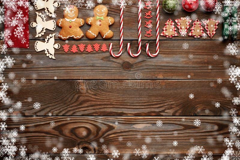 Configuração caseiro do plano da decoração do Natal imagens de stock