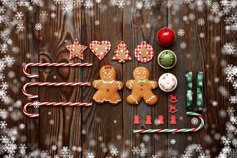 Configuração caseiro do plano da decoração do Natal fotografia de stock royalty free