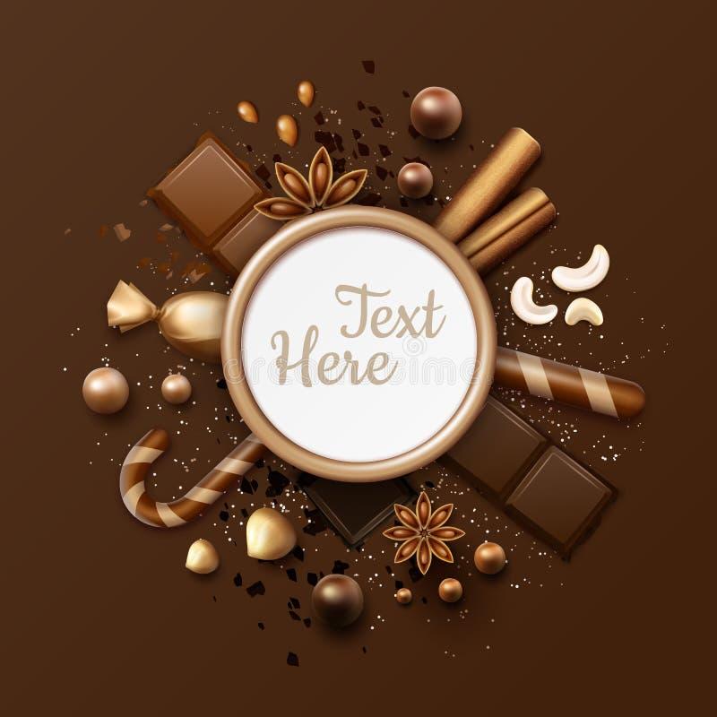 Configuração do plano do chocolate ilustração royalty free