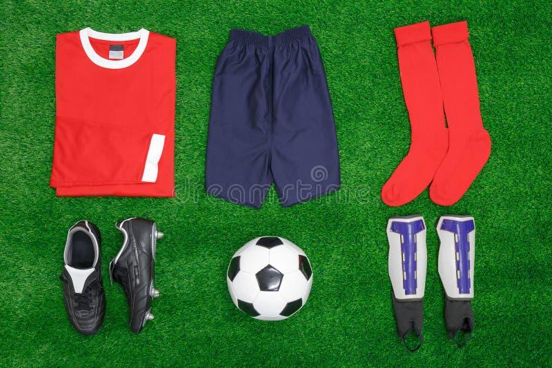 Configuração do plano do futebol do futebol foto de stock