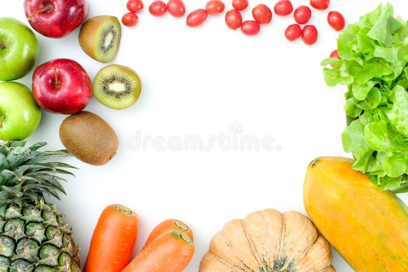 Configuração lisa Conceito do alimento Fruto fresco saudável dos frutos coloridos foto de stock