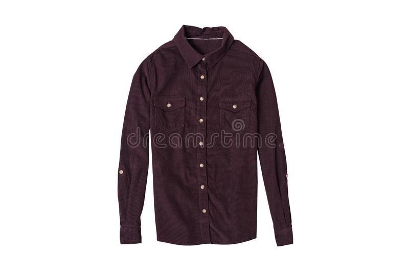 Configuração lisa da camisa marrom do veludo de algodão Conceito da forma Isolado no fundo branco imagem de stock