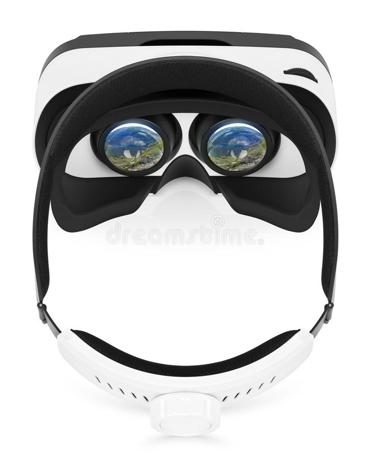 Configuração lisa da opinião superior dos auriculares da realidade virtual de VR no fundo branco fotos de stock