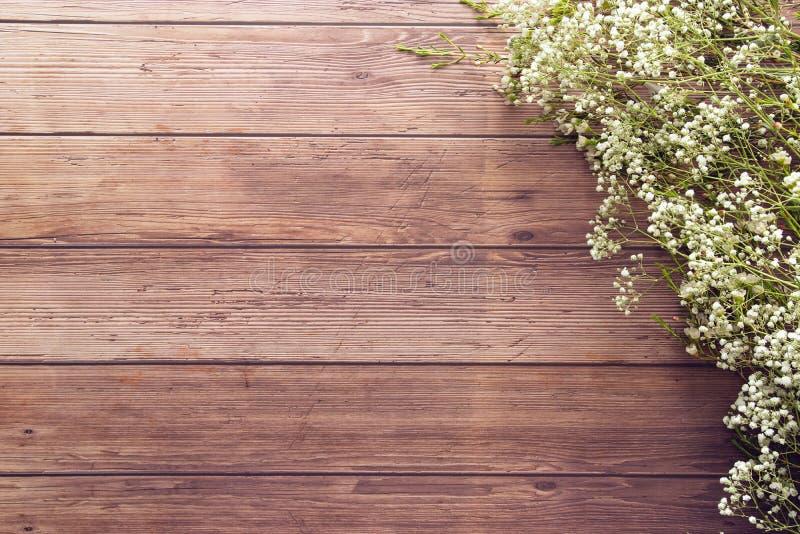 Configuração lisa das flores minúsculas brancas da mola do jardim no fundo de madeira da tabela da prancha com espaço da cópia, e fotografia de stock