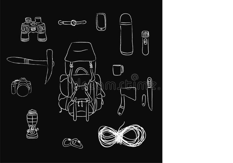 Configuração lisa de artigos do turista: corda, trouxa, facas, câmera, binóculos, relógio, garrafa, caneca, machado, tocha, carab ilustração royalty free