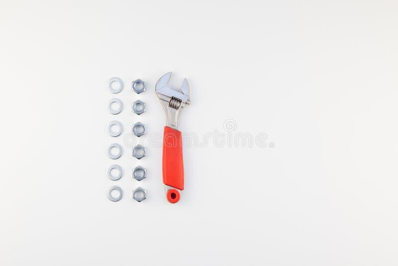 Configuração lisa de porcas e de chave inglesa do metal imagem de stock