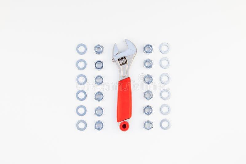 Configuração lisa de porcas e de chave inglesa do metal imagens de stock