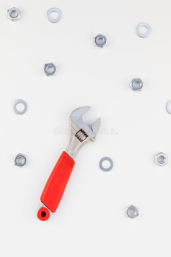 Configuração lisa de porcas e de chave inglesa do metal imagens de stock royalty free