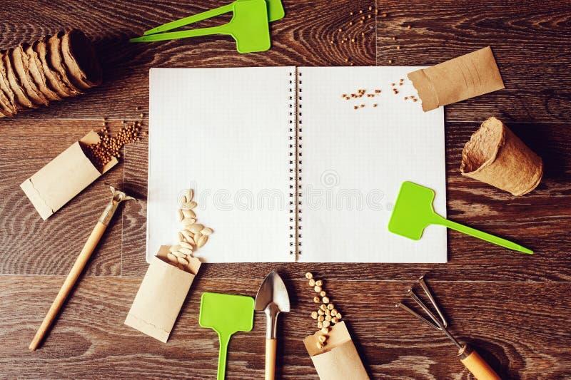 Configuração lisa do jardim da mola com as sementes em envelopes feitos a mão fotografia de stock royalty free