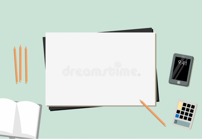Configuração lisa do livro, do papel, do lápis, do móbil e da calculadora ilustração royalty free