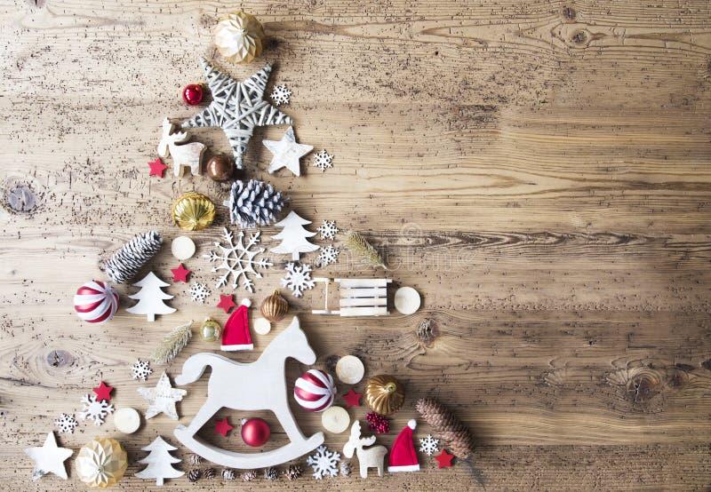 Configuração lisa do Natal com decoração, cavalo de balanço, espaço da cópia fotografia de stock royalty free