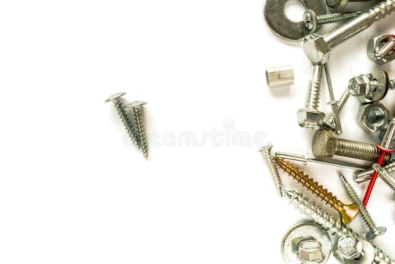 A configuração lisa do zinco revestiu o parafuso no branco Parafusos da perfuração do auto prendedores Material de conexão no fun fotos de stock royalty free