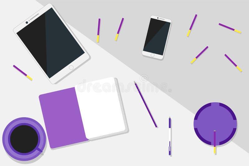 Configuração ultravioleta moderna do plano do espaço de trabalho foto de stock
