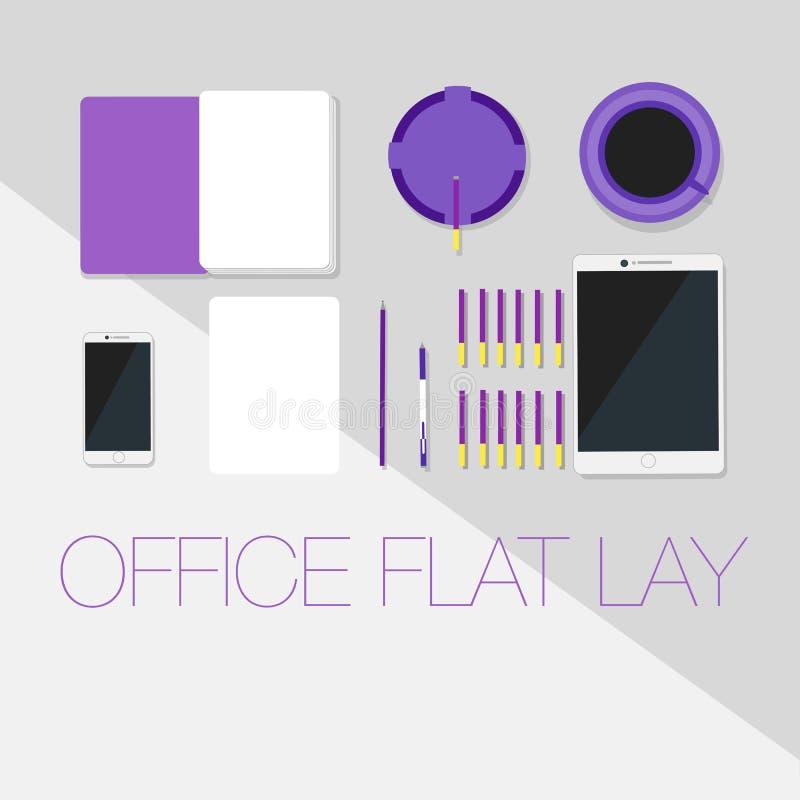 Configuração ultravioleta moderna do plano do espaço de trabalho imagem de stock royalty free