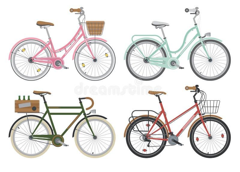 Configurações de bicicletas da rua da cidade Vetor ilustração do vetor
