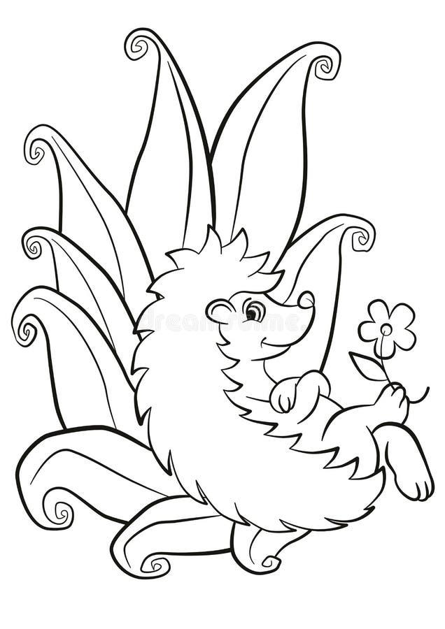 Configurações e sorrisos bonitos pequenos do ouriço ilustração do vetor