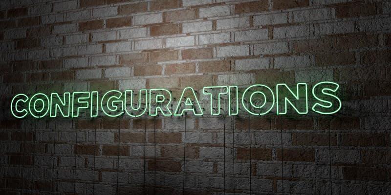 CONFIGURAÇÕES - Sinal de néon de incandescência na parede da alvenaria - 3D rendeu a ilustração conservada em estoque livre dos d ilustração stock