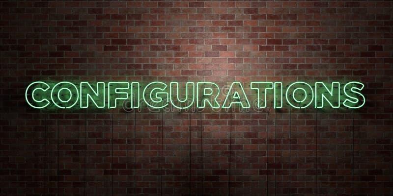 CONFIGURAÇÕES - sinal fluorescente do tubo de néon na alvenaria - vista dianteira - 3D rendeu a imagem conservada em estoque livr ilustração royalty free