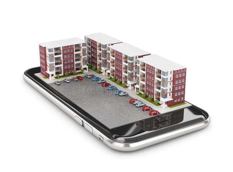 Configuración Área el dormir en el smartphone Edificios residenciales libre illustration