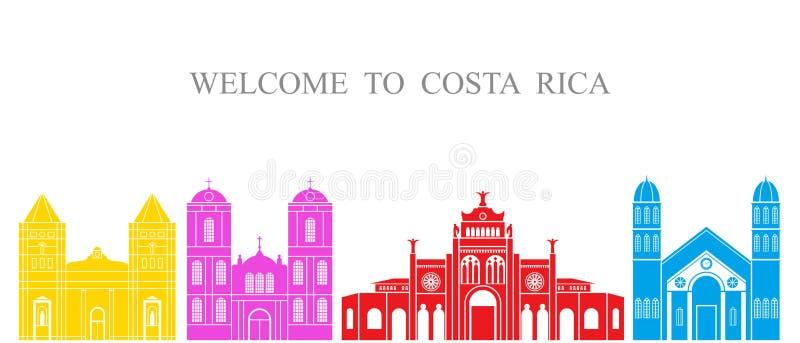 Configuración abstracta Arquitectura aislada de Costa Rica en el fondo blanco stock de ilustración