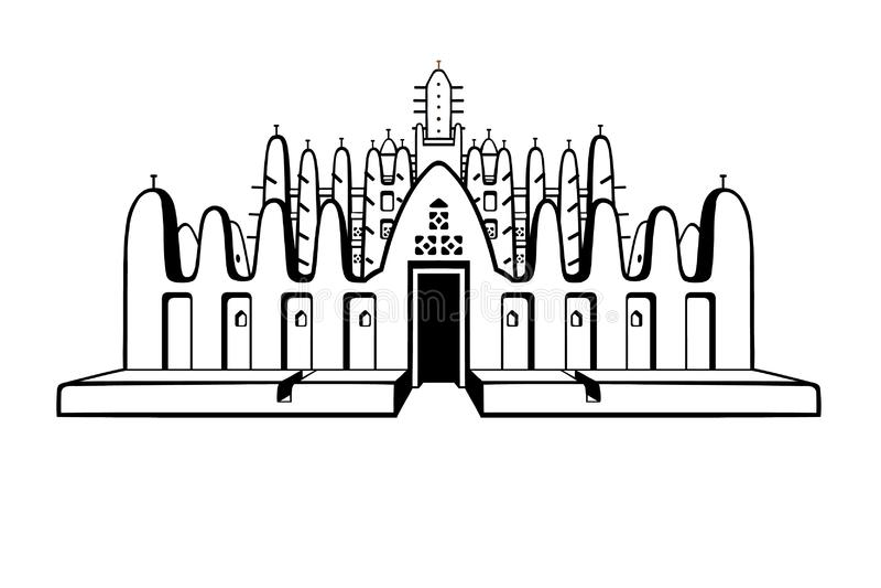Configuración africana La mezquita de la arcilla stock de ilustración