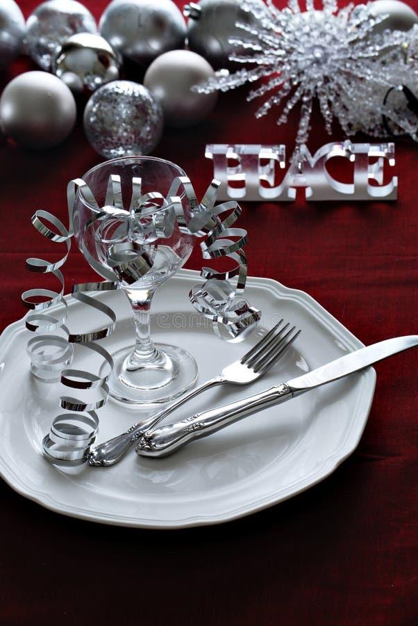 Configuración de la cena de la Navidad imagenes de archivo