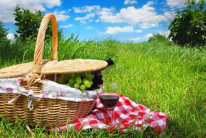 Configuración de la comida campestre con el vino fotos de archivo libres de regalías
