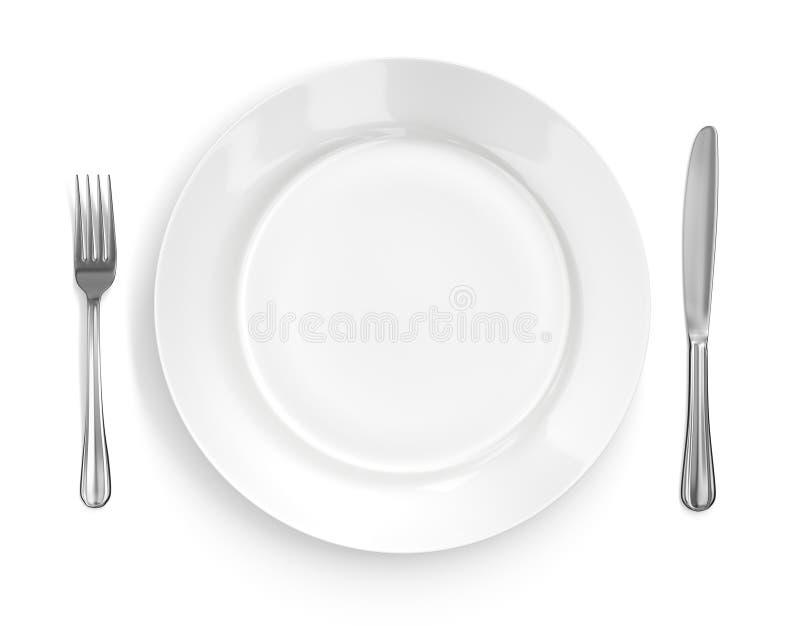 Configuración de lugar con la placa, el cuchillo y la fork stock de ilustración