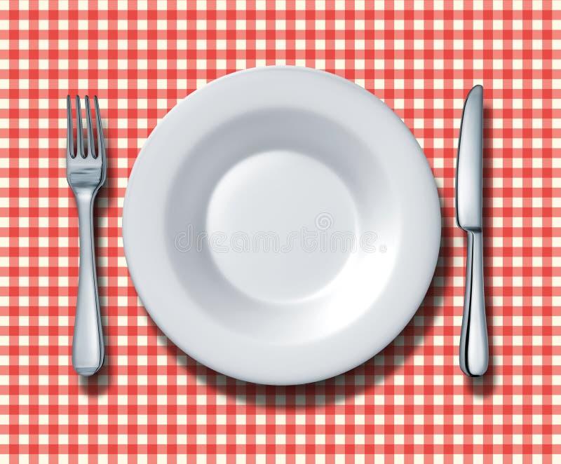 Configuración de lugar del restaurante de la familia ilustración del vector