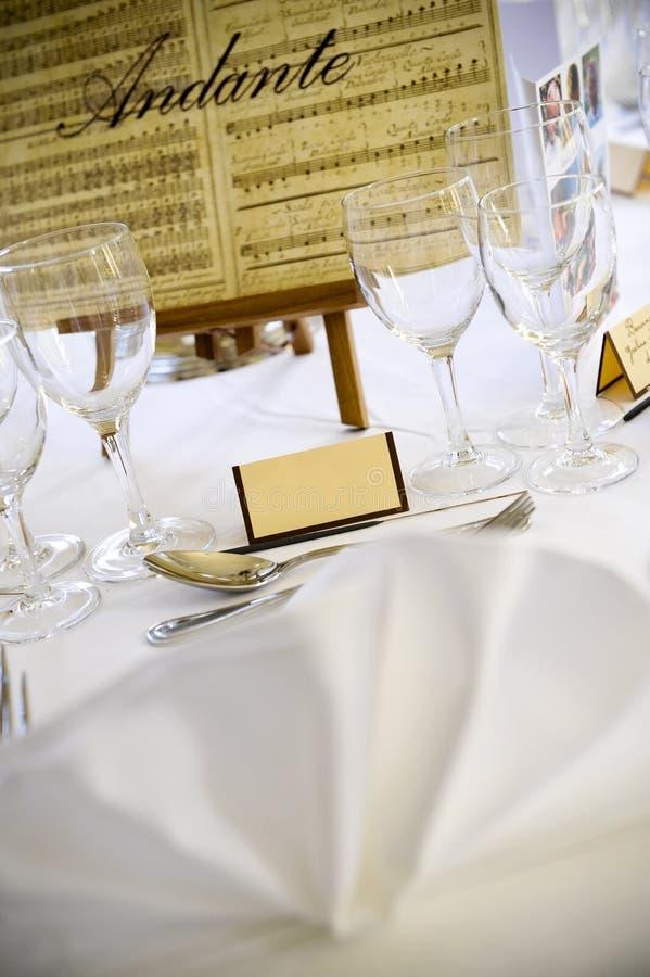 Configuración de lugar en la boda fotografía de archivo libre de regalías
