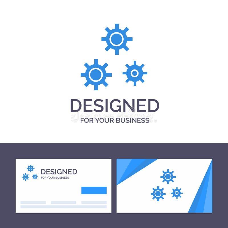 Configuración de visita de la plantilla creativa de la tarjeta y del logotipo, engranajes, preferencias, ejemplo del vector del s ilustración del vector