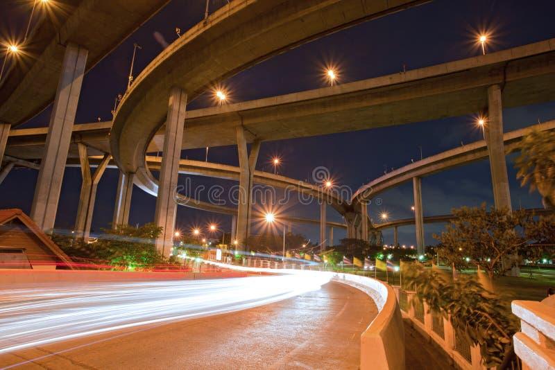 Configuración del puente industrial mega de Bhumibol fotos de archivo